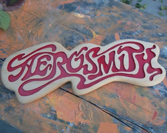Aerosmith Wooden Wall Art, Rock n Roll Logo, Music Home Decor, Wall Hanging, Perfect for Bar, Rec Room or Living Room          MADE TO ORDER