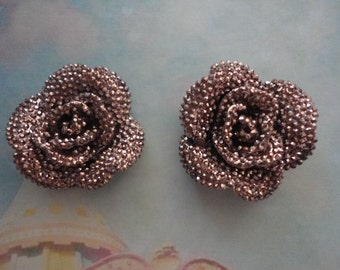 Kawaii bronze color rose with rhinestones decoden deco diy charms  2 pcs--USA seller