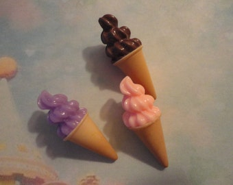 Kawaii soft serve ice cream cabochon decoden deco diy charm  3 pcs---USA seller