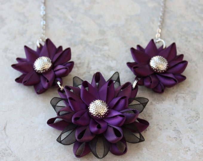 Deep Purple Necklace, Dark Purple Necklace, Purple and Black Necklace, Plum Necklace, Purple Statement Necklace, Black and Purple Jewelry