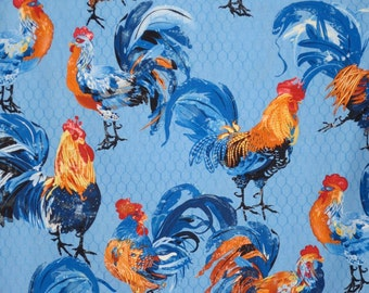 Bright Orange and Blue Rooster Print Pure Cotton Fabric--One Yard