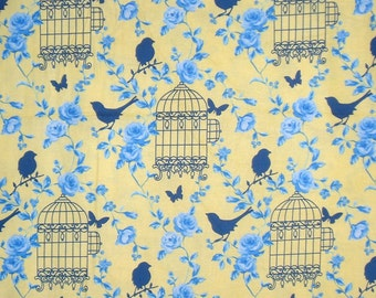 Blue on Yellow Birdcage Print Pure Cotton Fabric from TImeless Treasures--One Yard