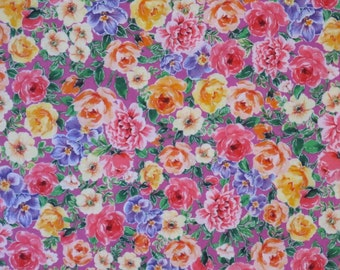 REMNANT--Pink and Lavender with Metallic Silver Allover Small Floral Print Pure Cotton Fabric--1.5  Yard