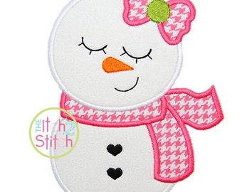 "Sleepy Snowman Girl Applique Design, Shown with our ""One Thing"" Font NOT Included, In Hoop Size(s) 4x4, 5x7, & 6x10 INSTANT DOWNLOAD"