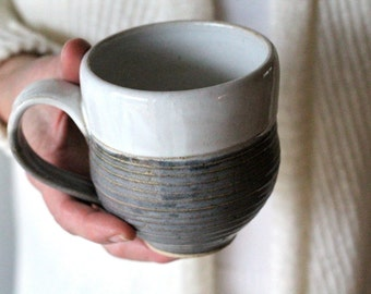 Pottery Mug - White and Charcoal gray with Grooves - Coffee Cup