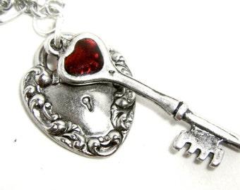 Silver key necklace, key heart necklace, silver pendant, heart lock, lock and key necklace, key jewellery, plique a jour heart
