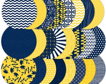 """4"""" Circle Clip Art for Personal and Commercial Use - Navy and Yellow"""