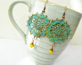 Gypsy Patina Copper Filigree and Yellow Bead Bohemian Earrings