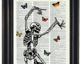 BOGO SALE Skeleton Art Prints with HHP Signature Butterflies Original Design Dictionary Art Wall Decor