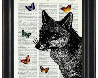 BOGO SALE Fox Dictionary Art Print with HHP Signature Butterflies Wall Decor Dictionary Print Book Page Print Dictionary Prints