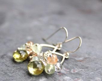 Cluster Gemstone Earrings Summer Jewelry Sterling Silver Lemon Quartz Sunstone Multi Gem Earrings