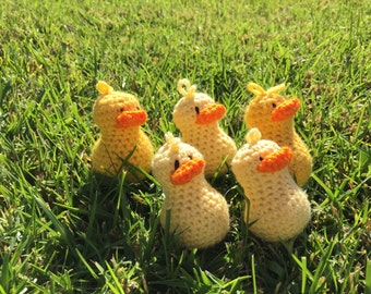 Crochet Duck Amigurumi Duck Five Yellow Rubber Ducks