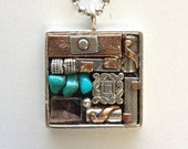 Turquoise Mosaic Pendant Necklace Silver with Copper