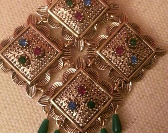 """SARAH COVENTRY """"Temple Lites Collection Brooch, Textured Rhinestone, Bead Tassels"""