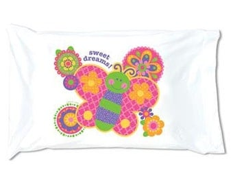 Personalized Monogrammed Stephen Joseph Butterfly Autograph Pillow Case--Fast Turnaround--Free Monogramming--