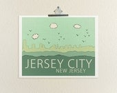 Jersey City, New Jersey // Travel City Skyline Illustration Typographic Print, Art Poster Print, Digital, Jersey Shore, Ocean, Beach Art
