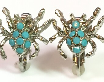 Vintage NEW/Old Stock 1980's Silver & turquoise Colored Spider Clip-on Earrings