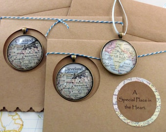 Map Christmas Ornament, in a Handcrafted Gift card