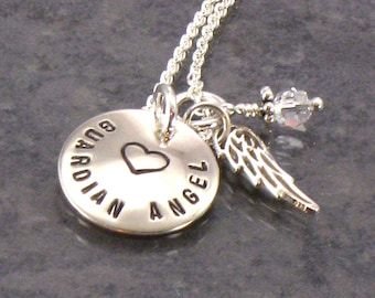 Hand Stamped Guardian Angel Necklace with Angel Wing Charm - Sterling Silver Disc - Choice of Birth Crystal Charm