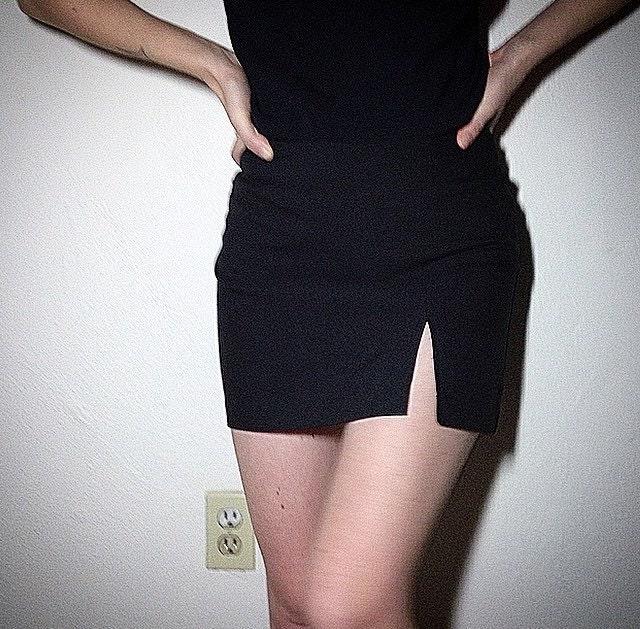black side slit mini skirt size 3