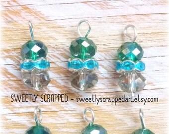 10 Aqua Blue Beaded Charms ... Green, Rhinestone, Bling, Scrapbooking, Embellishment