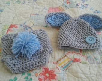 SALE Sweet Baby Bunny Hat and Daiper Cover Set- made to order, photo prop, photogrpahy prop, baby, new baby