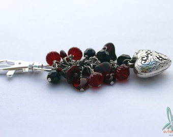 Gothic heart - bag charm or key chain with lots of czech glass and charms in red and antiqued silver