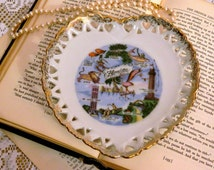 Vintage Florida Heart Shaped Collectible State Souvenir Dish with Gold Trim, Table Accent Piece, Home Decor, Romantic Cottage Style