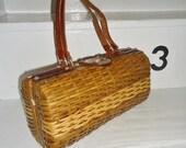 Small Brown Woven Wicker Vintage 1950's Rockabilly BARREL Handbag Purse