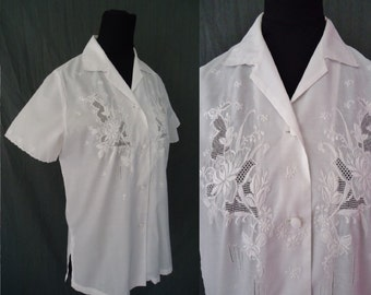 White Embroidered & Sheer Vintage 1950's Womens Blouse Shirt M