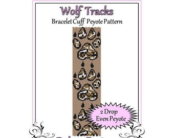 Bead Pattern Peyote(Bracelet Cuff)-Wolf Tracks