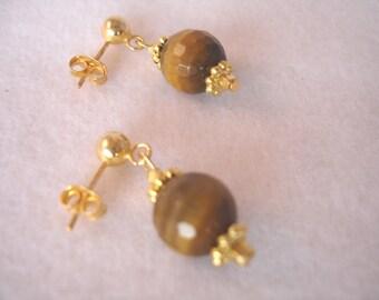 Tiger eye earrings on vermeil posts, stud earrings, natural stone, gemstone