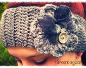Crochet flower headband headwrap boho grey  - Adult size gray