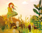 Flowers Leave - large photographic print from the picture book Fall Leaves, illustrated by Elly MacKay, published by HMH