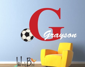 Soccer name decal - Personalized - Vinyl Wall Decal Sticker Art, Nursery childrens room soccer decor