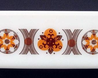 GLASBAKE Loaf Pan ~ Brown & Orange Pattern