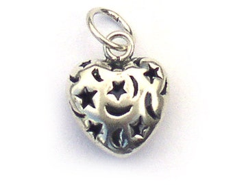 Sterling Silver Heart Charm with Moon and Stars 14mm