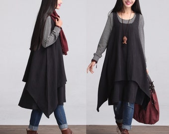 Two Layered Maxi Dress - Black - Linen Cotton dress for Women
