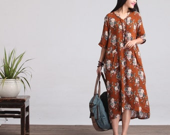 Casual Loose Fitting Sleeved Cotton Long Dress Blouse (R) - Women Maxi dress