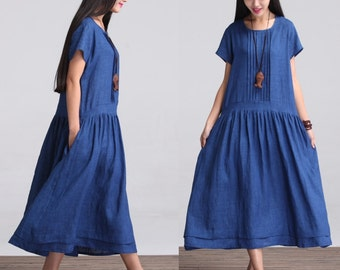Loose Fitting Long Linen Maxi Dress - Summer Dress in Blue  - Short Sleeve Sundress for Women(LYQ605)