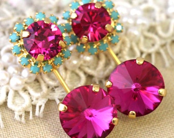 Ear Jacket Earrings,Pink Turquoise Crystal earrings,Swarovski ear jackets,Fuchsia mint Turquoise earrings,Trending jewelry,Crystal ear Cuff