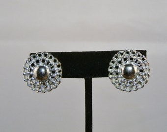 Vintage Lisner Earrings Silver Tone Round Clip On Signed Mid Century Costume Jewelry GallivantsVintage