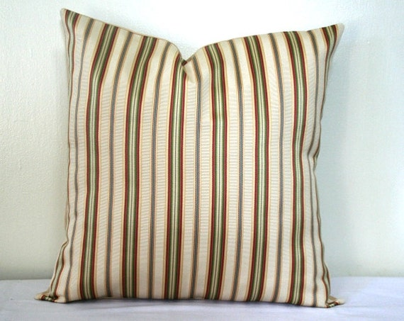 Beige Rust And Green Striped 18 Inch Pillow Cover Accent