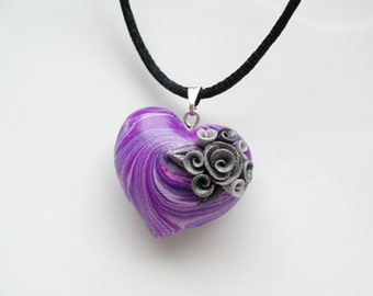 Heart necklace in violet and purple colours with rose detail handmade from polymer clay