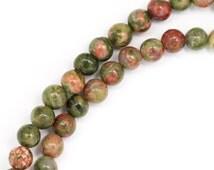 Unakite Beads - 4mm Round - Full Strand