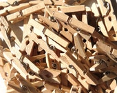 """Mini Clothespins in Light Natural - 25 - 1"""" or 2.5 cm - Wooden - Great for Paper Crafts Rustic Christmas Rustic Weddings and Party Favors"""