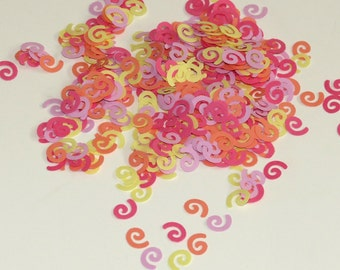 Curly Party Confetti Pastel Yellow, Purple, Orange, Pink 625 Pieces