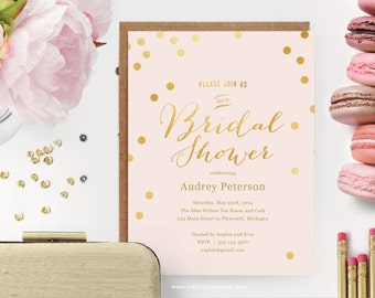 Printable Bridal Shower Invitation  // Pink Script with Gold Dots  // Editable Instant Download