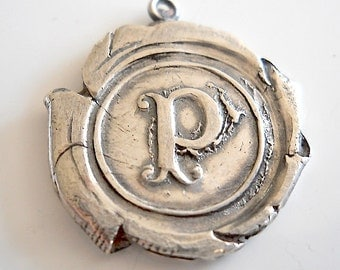 Handmade Recycled Sterling Wax Seal Jewelry Initial Pendant . Personalized Initial Charm, GIFT