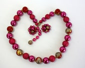 Vintage 60s Bead Necklace Earrings Fuchsia Pink & Red Beads Hand Painted Choker Japan